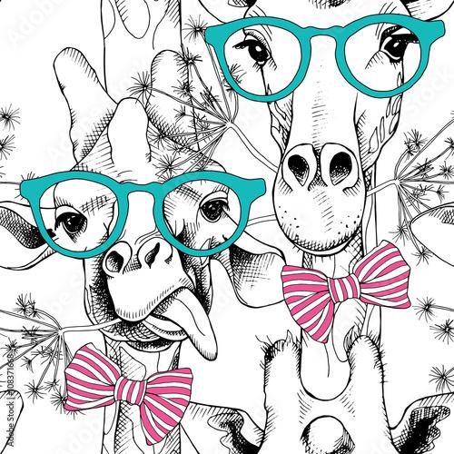 Wzór z żyrafami w okularach iz kokardą.