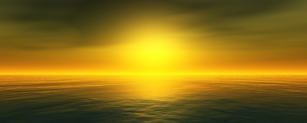 Panoramic sea sunset, ocean sunrise, the light above the water