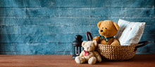 Cute Teddy Bear In A Basket Banner