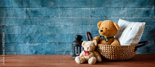 Obraz na plátně  Cute Teddy Bear In A Basket Banner