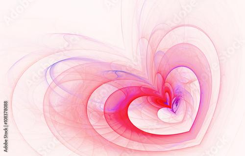 Fotografie, Obraz  abstract fractal background, heart, love, spiral