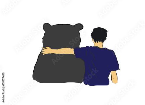 Photographie  Unidentified man hug the big black bear for encourage my own sketch