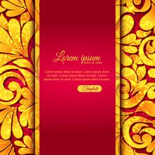 Elegant Ornamental Card With Lace Gold Pattern And Place For Text.