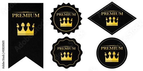 """""""Premium"""" Button Siegel schwarz Leder Optik"""