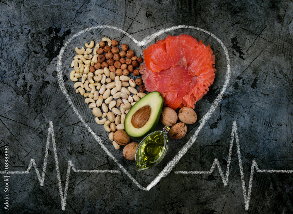 Fototapety, obrazy: healthy fats. healthy fats for heart. top view.