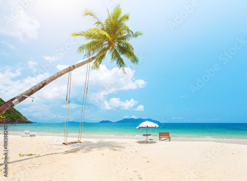 Poster Tropical plage Beautiful tropical island beach with coconut palm trees and swing