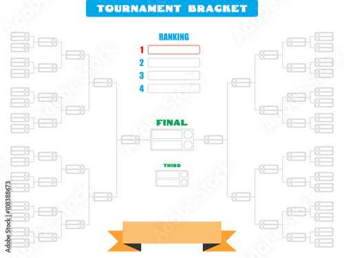 Vector illustration of a blank tournament bracket for 32 teams