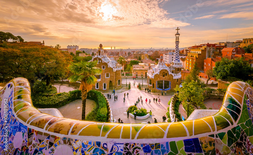 Photo Stands Historical buildings Guell park in Barcelona