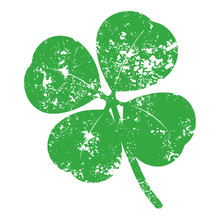 Isolated And Grunge Green Four Leaf Clover (Trifolium Repens) Clip Art Which Symbolizes Good Luck - Eps10 Vector Graphics And Illustration