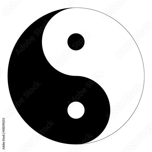 "Fotografija  Isolated black and white ""Yin Yang"" symbol of harmony and balance in Chinese phi"