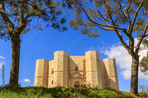 Photo sur Toile Con. Antique Stones of Apulia.Castel del Monte: the main facade.-ITALY(Andria)-Castel del Monte aka Castrum Sancta Maria de Monte, an Unesco world heritage site in Apulia.