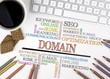 Domain word cloud, Business concept. White office desk