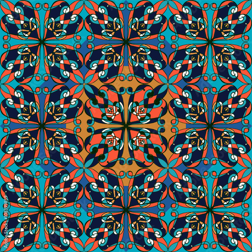 Tuinposter Marokkaanse Tegels Seamless pattern. Vintage decorative elements. Oriental pattern,