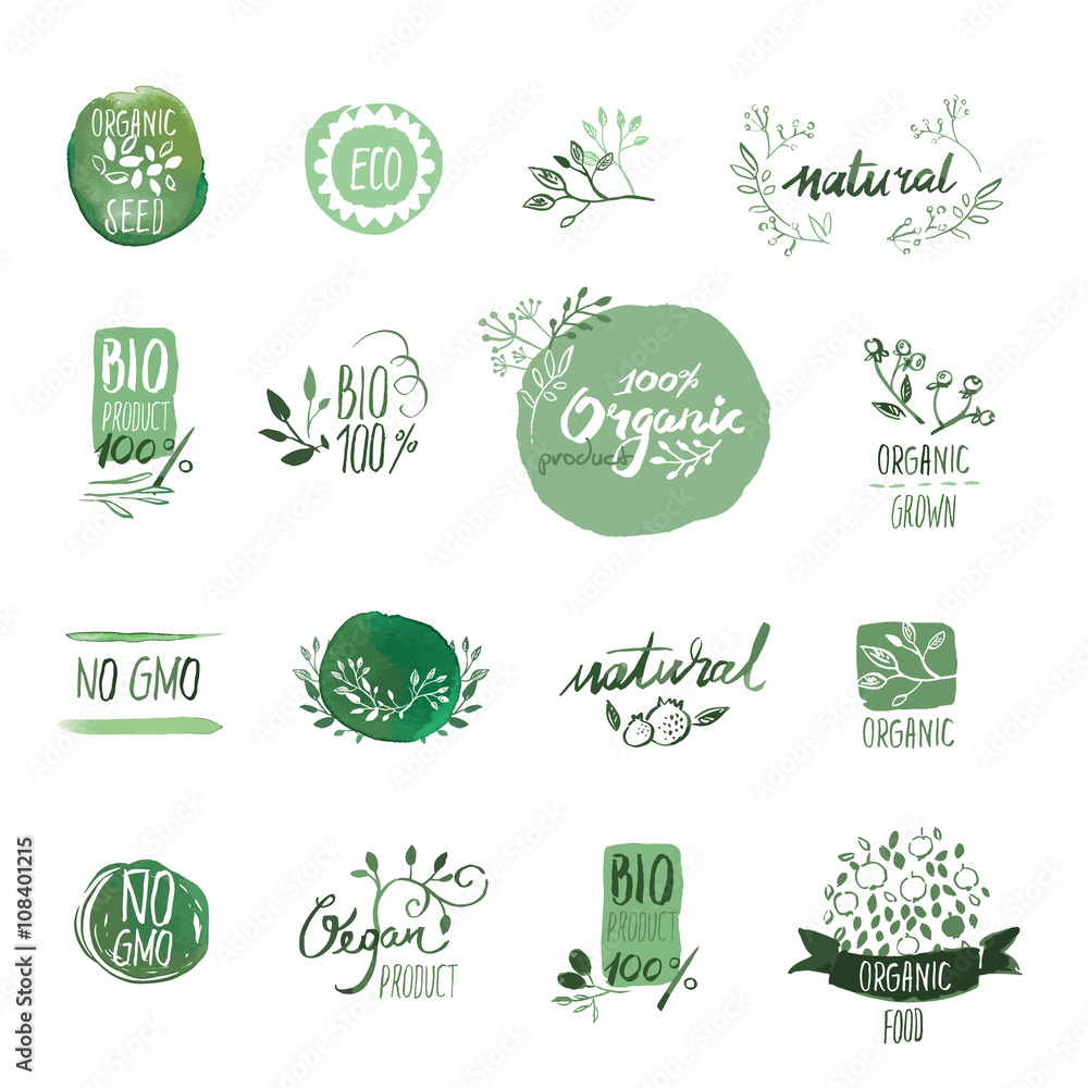 Fototapety, obrazy: Set of organic food hand drawn watercolor badgesand elements. Vector illustrations for organic food and drink, restaurant and organic products.