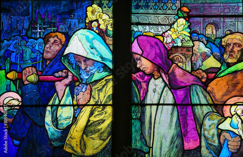 Photo  Stained Glass in Prague Cathedral of Saints Cyril and Methodius