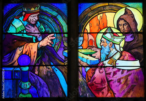 Stained Glass of Saints Cyril and Methodius by Alphonse Mucha Poster