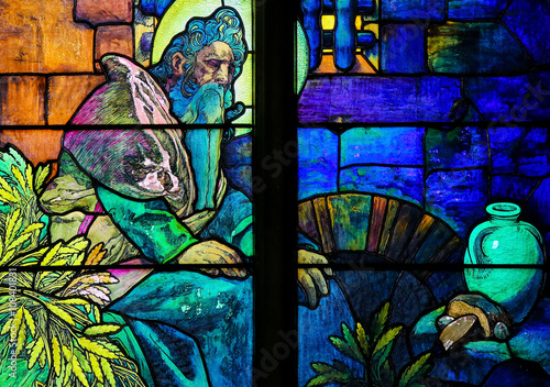 Stained Glass of Saint Methodius by Alphonse Mucha Poster