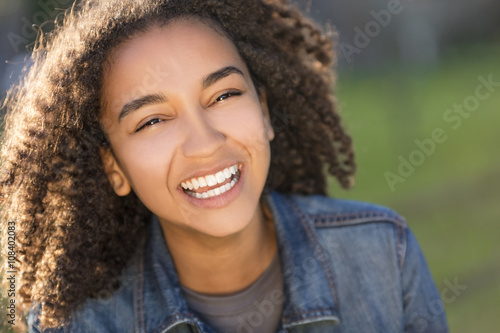 Fotografie, Obraz  Mixed Race African American Girl Teenager With Perfect Teeth