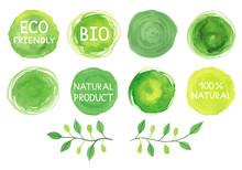 Set Of Watercolor Green Logo.L...