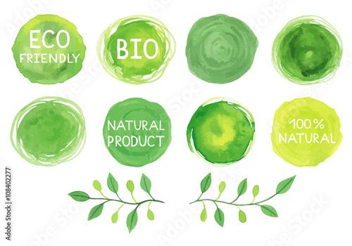 Fotografía  Set of watercolor green logo