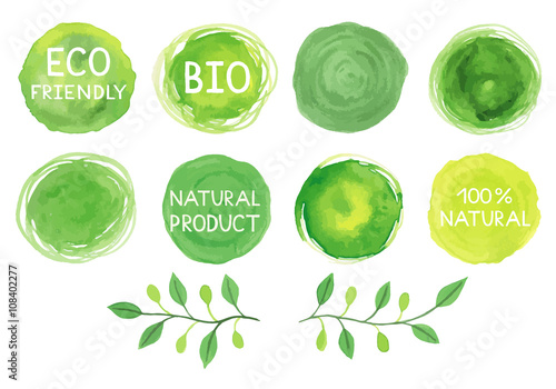 Fotografiet  Set of watercolor green logo