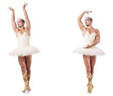 Man In Ballet Tutu Isolated On...