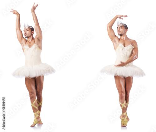 Man in ballet tutu isolated on white Fototapet