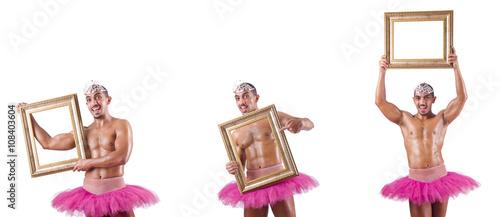 Fotografie, Obraz  Man wearing ballet tutu isolated on white