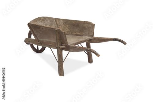 Leinwand Poster Rear View of an Antique Wooden Wheelbarrow