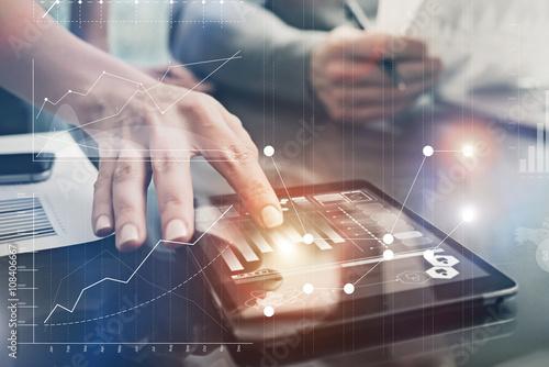Fotografiet  Closeup photo female hands touching screen modern tablet