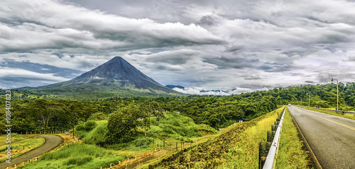 Panoramic view of Arenal Volcano during a cloudy day