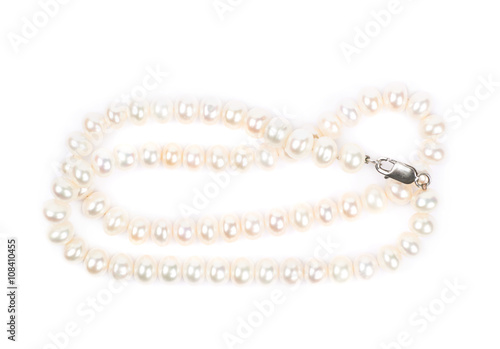 Pearl necklace isolated Wallpaper Mural