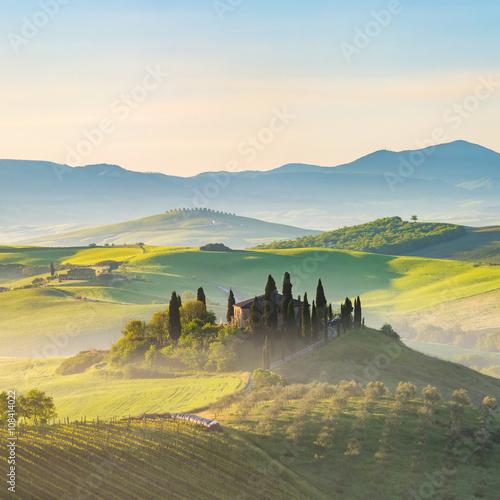 Poster Kaki Beautiful foggy landscape in Tuscany, Italy