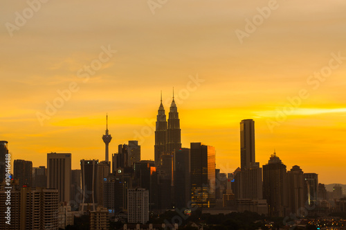 Cityscape of Kuala Lumpur city during sunset. Poster