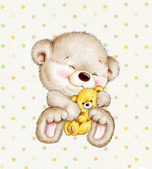 Cute Teddy bear with baby on a polka dots background