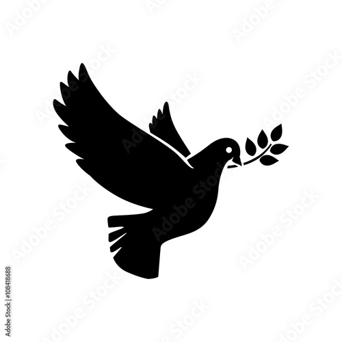 Fototapeta Dove icon. Flying dove with olive twig vector sign