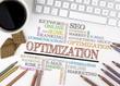 Optimization word cloud, Business concept. White office desk