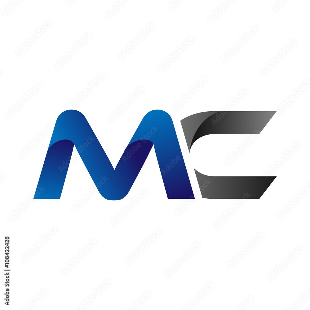 Fototapeta Modern Simple Initial Logo Vector Blue Grey Letters mc