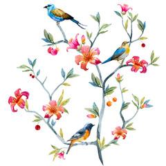 Fototapeta Ptaki Floral composition with birds