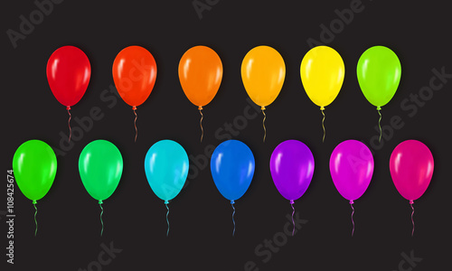 Realistic 3d Colorful Glossy Balloons Flying for Happy Birthday, Party and Celebrations. Trendy Design element on black background. Vector Illustration