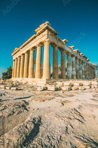 Retro filtered shot of ruins of Parthenon temple of goddes Athena in Acropolis, Athens, Greece