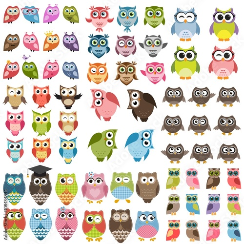 Canvas Prints Owls cartoon Owls and owlets set