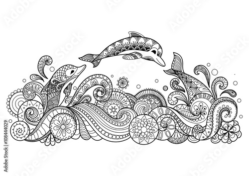 Photographie Hand drawn zentangle dolphin with scrolling sea wave for coloring book for adult