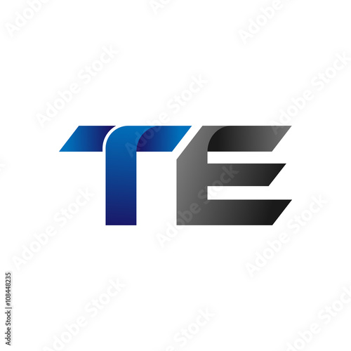 Photo  Modern Simple Initial Logo Vector Blue Grey Letters te