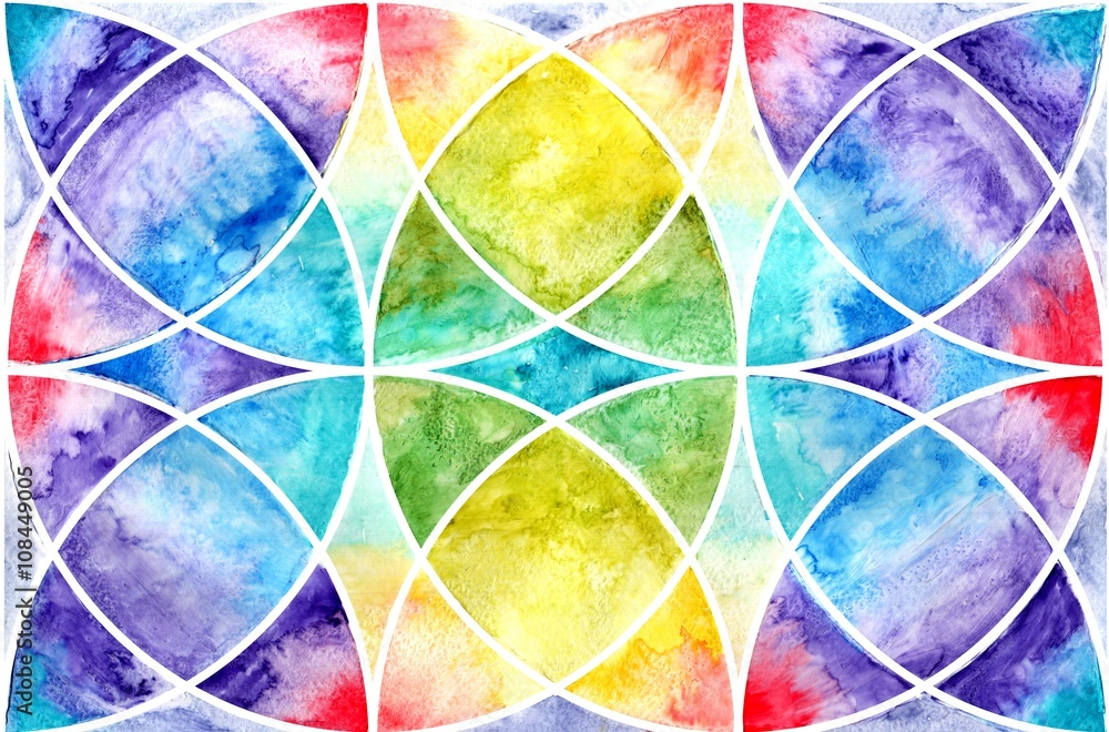 Geometric abstraction watercolor