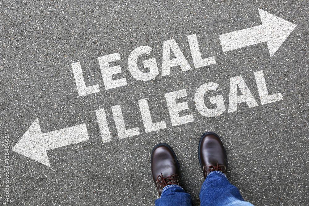 Fototapeta Legal illegal Business Konzept Businessman Entscheidung Verbot k