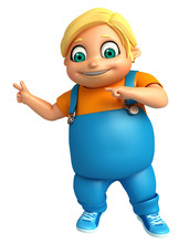 3D Render Of Little Boy With P...