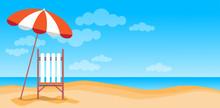 Summer Beach Vacation Sunbed W...