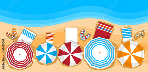 Canvas-taulu Summer Beach Vacation Sunbed With Umbrella Sand Tropical Banner Top Angle View