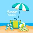 Luggage Flip Flops Ball Under Umbrella Summer Vacation Trip Tropical Island Seaside Beach